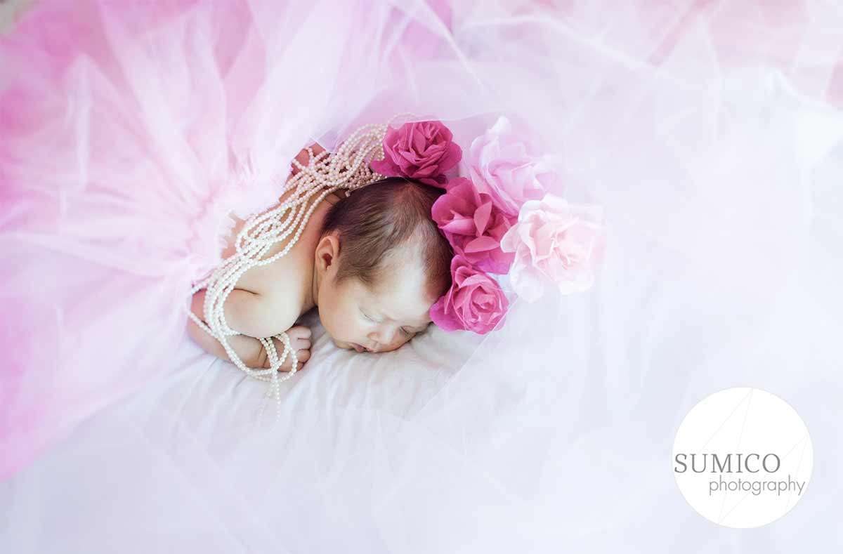 Gold Coast Baby Portrait in pink dress