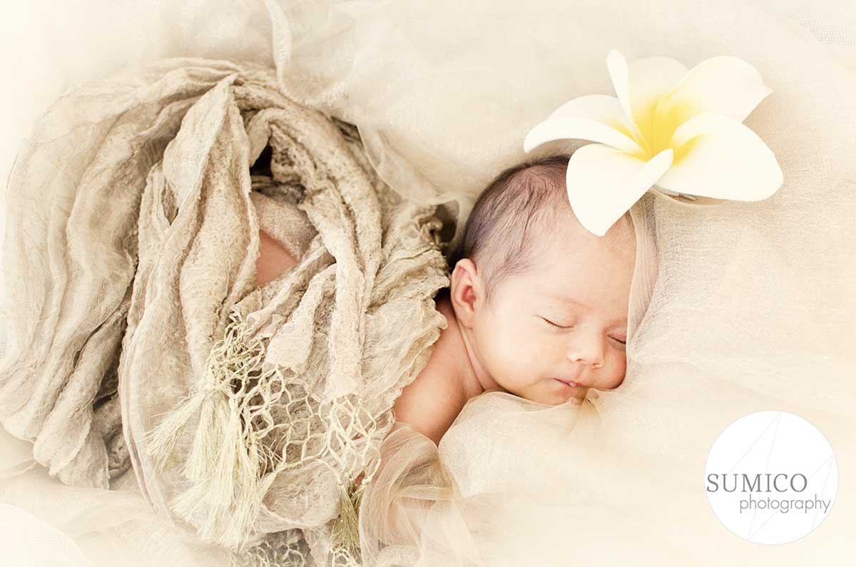 Gold Coast Baby Portrait with Frangipani