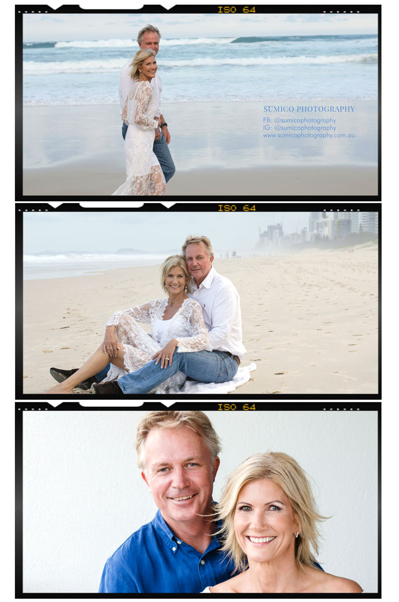 Beach photoshoot for a couple on the Gold Coast