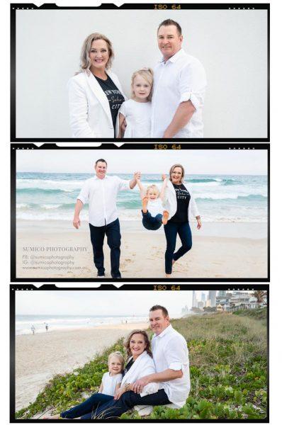 Family photo shoot on the Gold Coast Beach