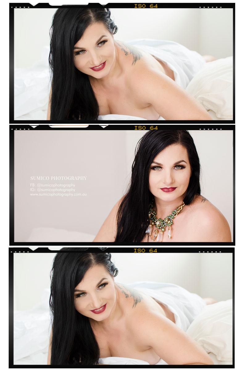 Boudoir Photography in white sheet Gold Coast