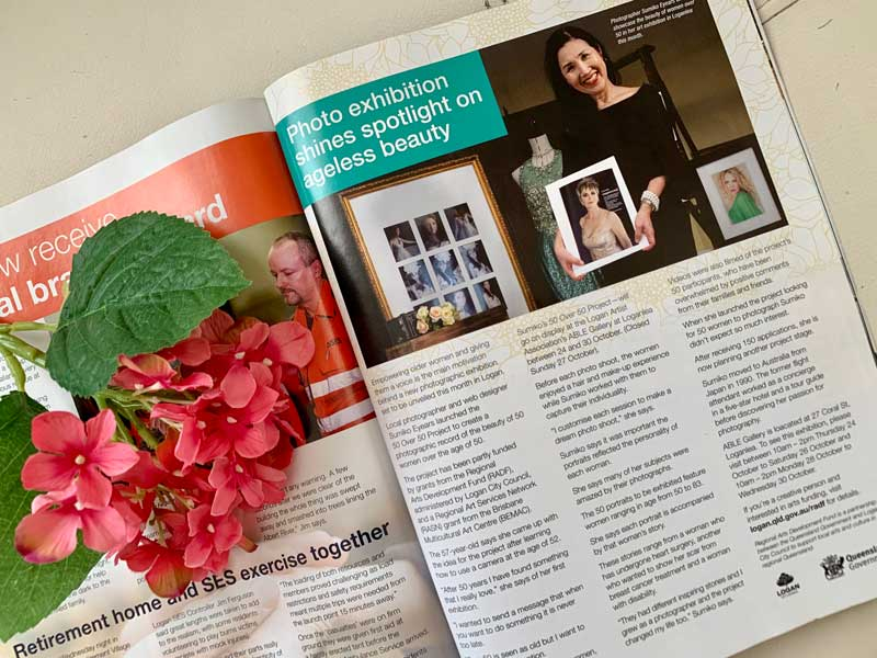 Sumico Photography's 50 over 50 project article in Logan Magazine