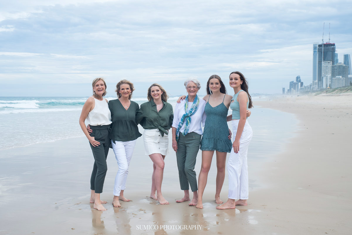 3 Generation Family Portrait on the Main Beach, Gold Coast